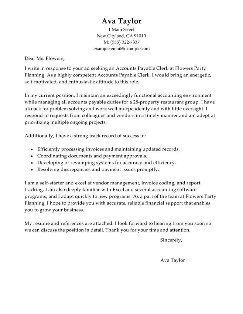 amazing accounts payable specialist cover letter examples