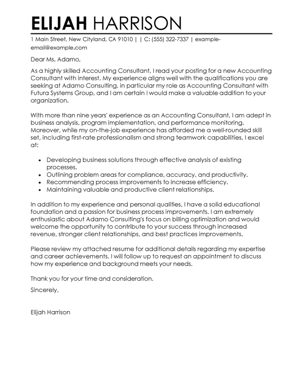 Amazing Consultant Cover Letter Examples & Templates from Our ...
