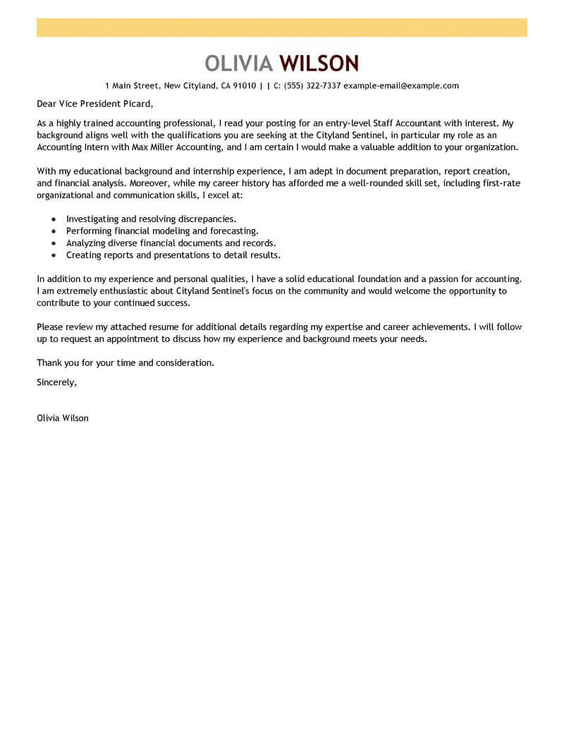 Amazing Accounting & Finance Cover Letter Examples ...