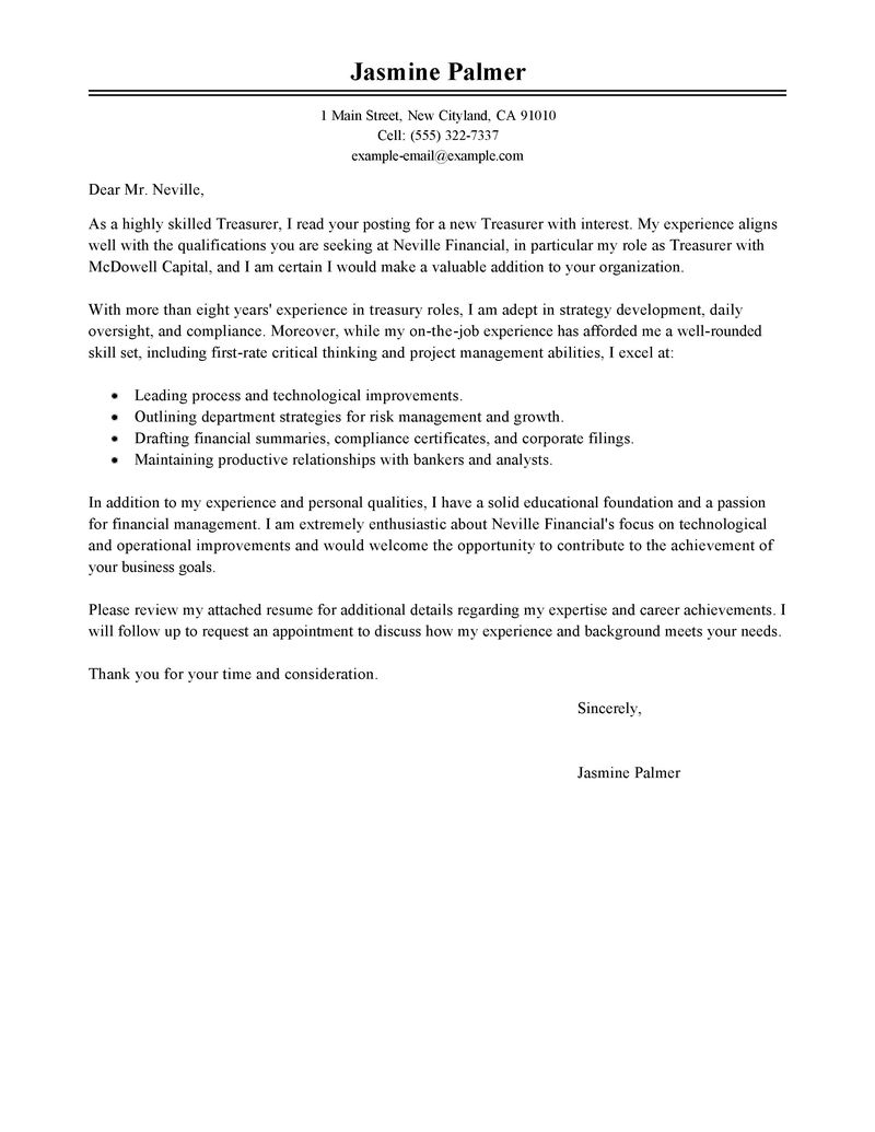 Outstanding Treasurer Cover Letter Examples & Templates from Our ...