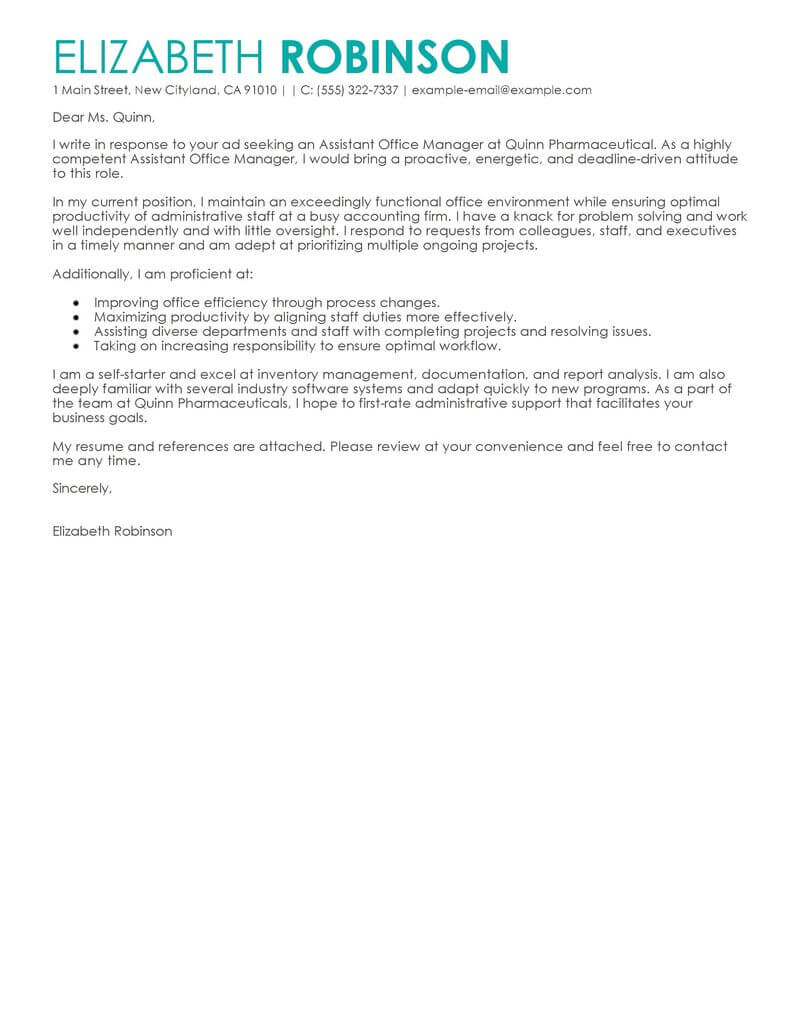 free admin assistant manager cover letter examples  u0026 templates from our writing service
