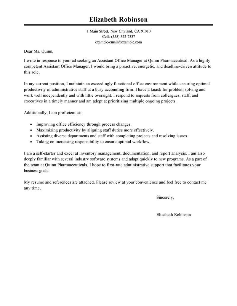 free admin assistant manager cover letter examples