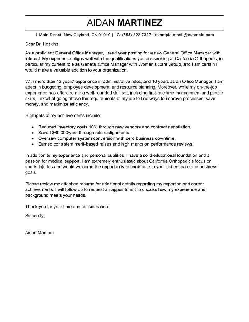 free admin general manager cover letter examples  u0026 templates from our writing service