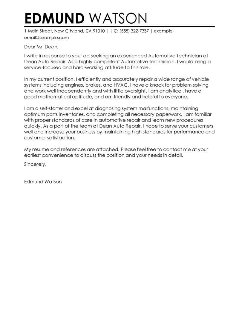 outstanding automotive technician cover letter examples