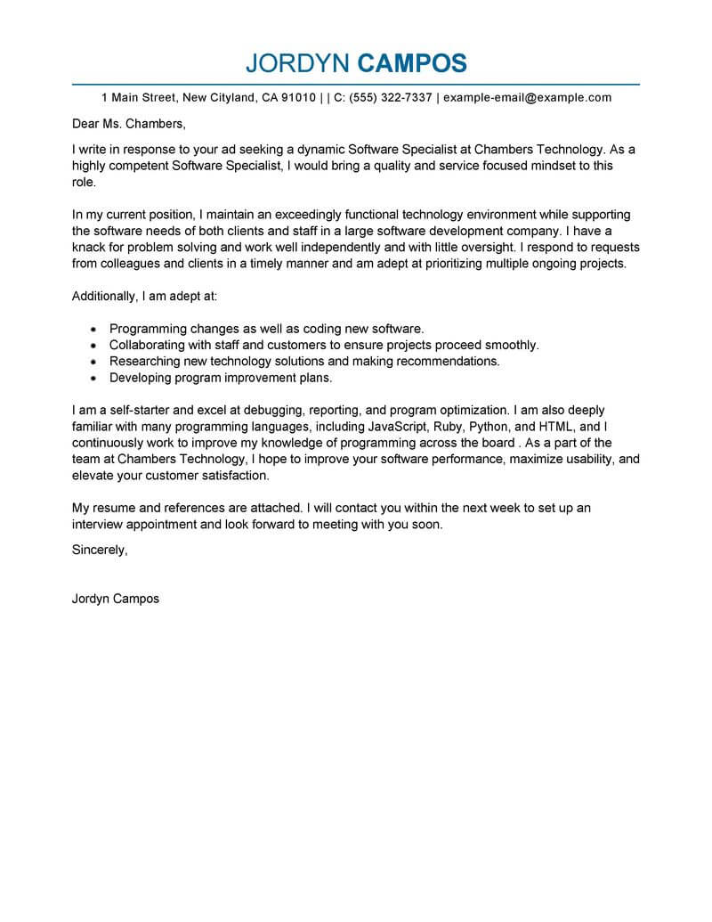 outstanding software specialist cover letter examples