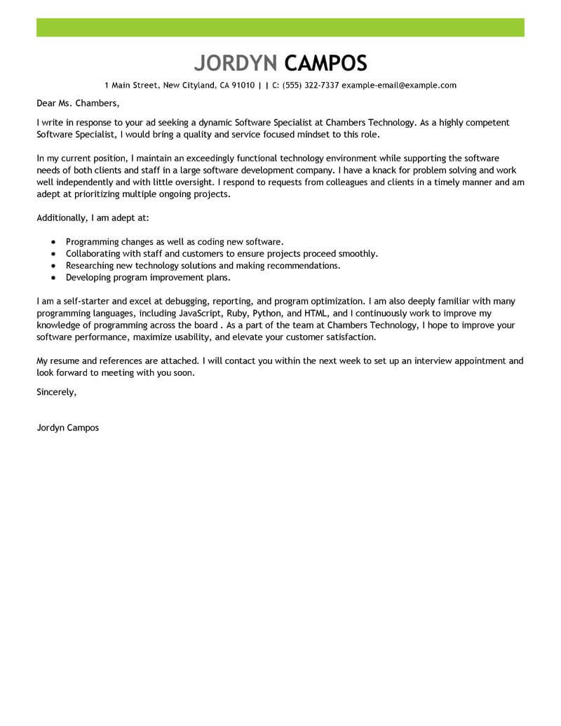 Amazing Puters Technology Cover Letter Examples