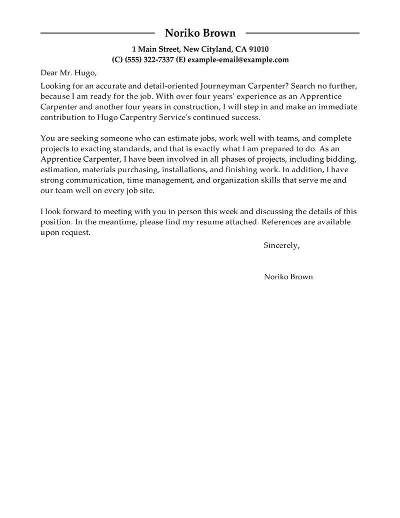 amazing apprentice carpenter cover letter examples