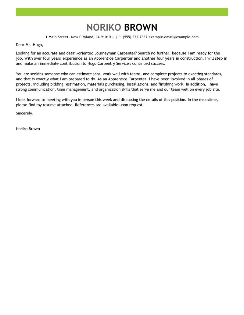 Outstanding Construction Cover Letter Examples & Templates ...
