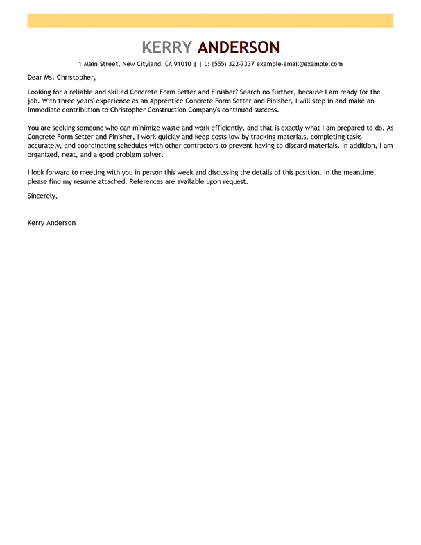 construction cover letter examples templates