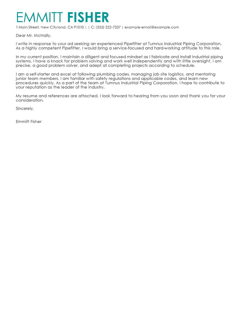 Outstanding Pipefitter Cover Letter Examples Templates From Our