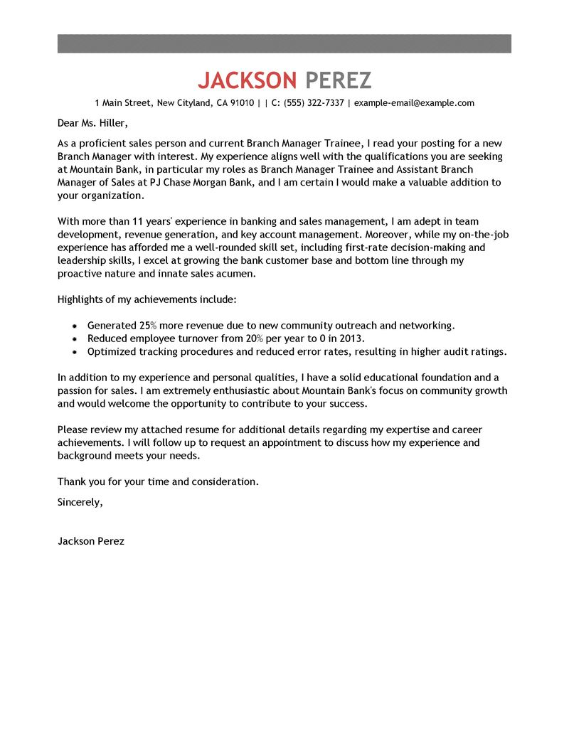 Delightful Branch Manager Trainee Cover Letter Examples
