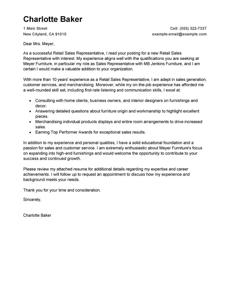 amazing rep retail sales cover letter examples  u0026 templates