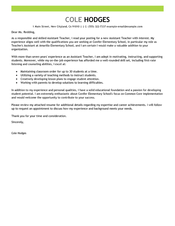 free assistant teacher cover letter examples templates from our