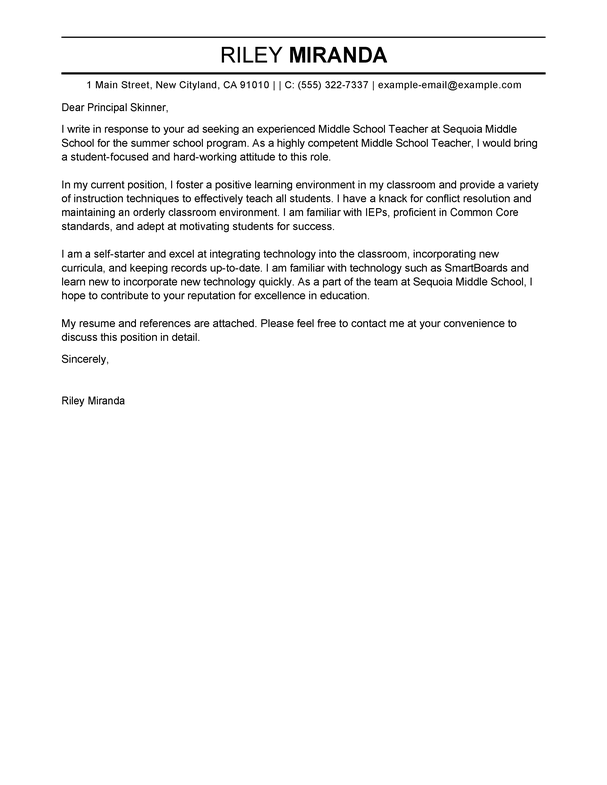 Outstanding Summer Teacher Cover Letter Examples Templates From