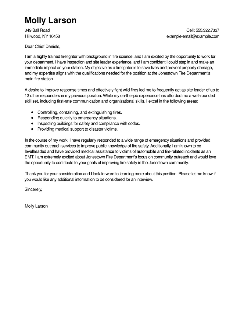 outstanding firefighter cover letter examples  u0026 templates