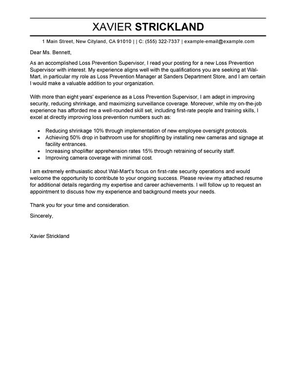 Outstanding Loss Prevention Supervisor Cover Letter
