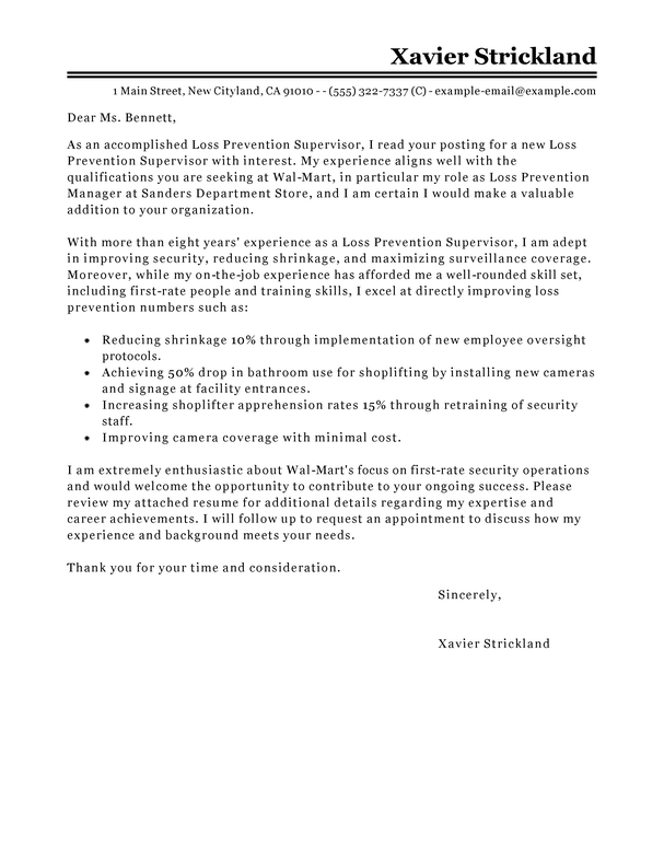Loss Prevention Supervisor Cover Letter Examples