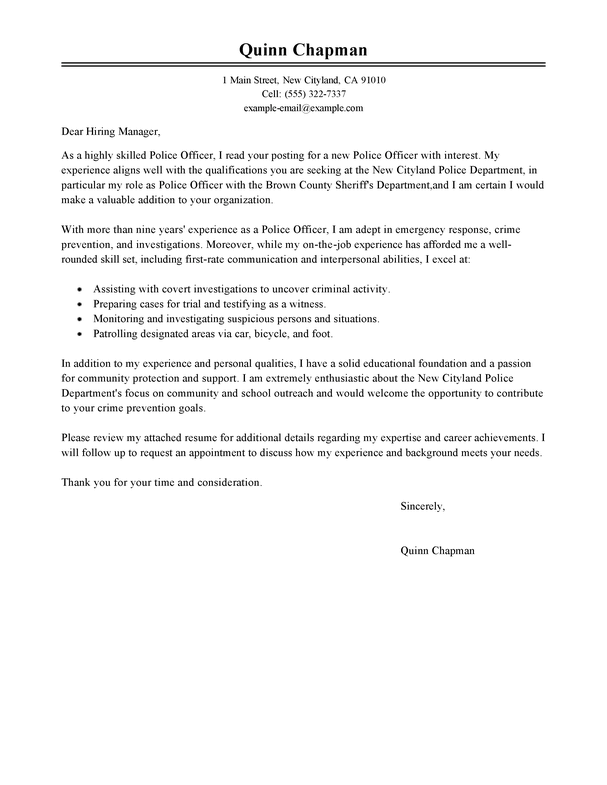 Custom officer cover letter