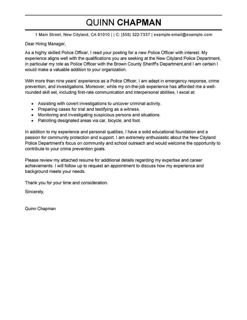 outstanding emergency services cover letter examples