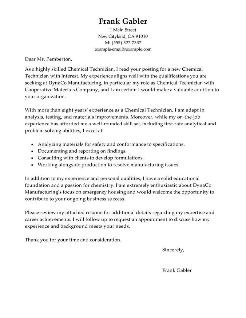 Cover letter chemical engineering phd