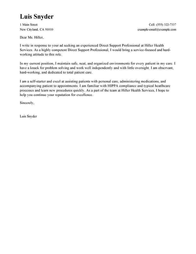outstanding direct support professional cover letter