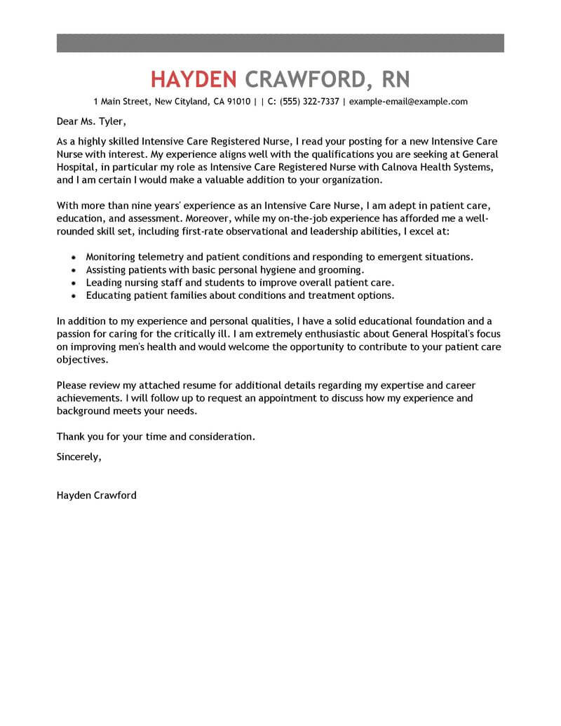 amazing intensive care nurse cover letter examples templates from
