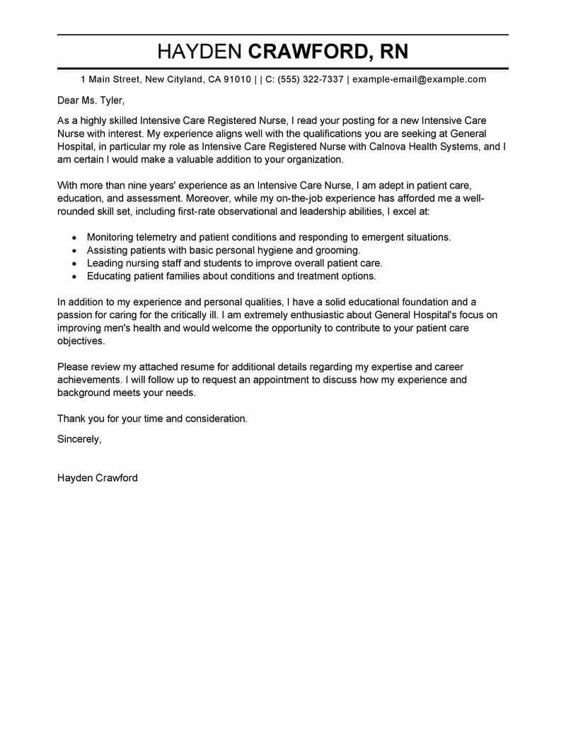 Application Letter Icu Nurse