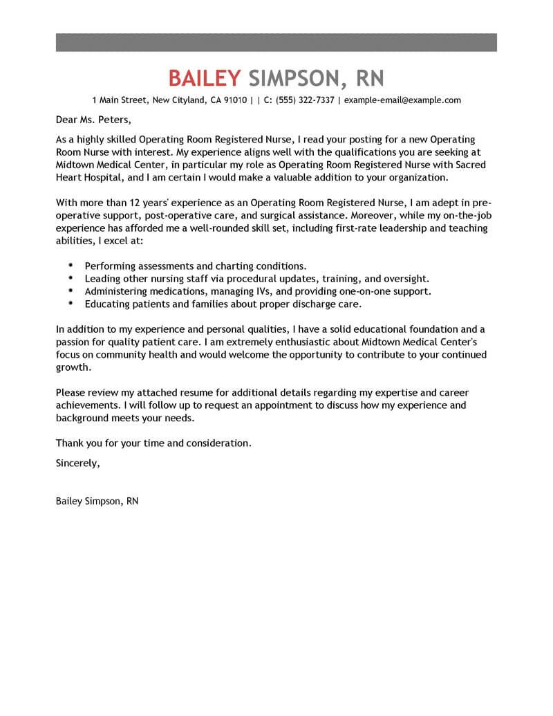 amazing operating room registered nurse cover letter examples  u0026 templates from our writing service