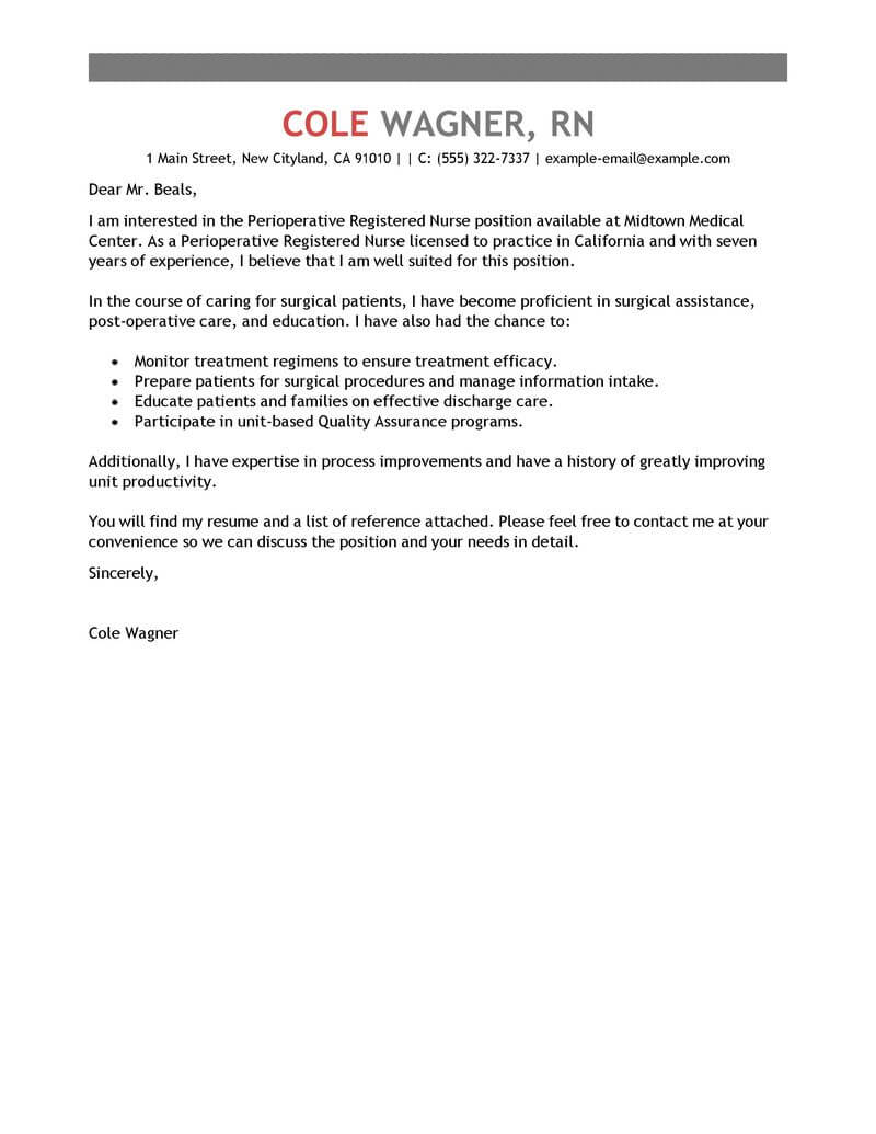 amazing perioperative nurse cover letter examples  u0026 templates from our writing service
