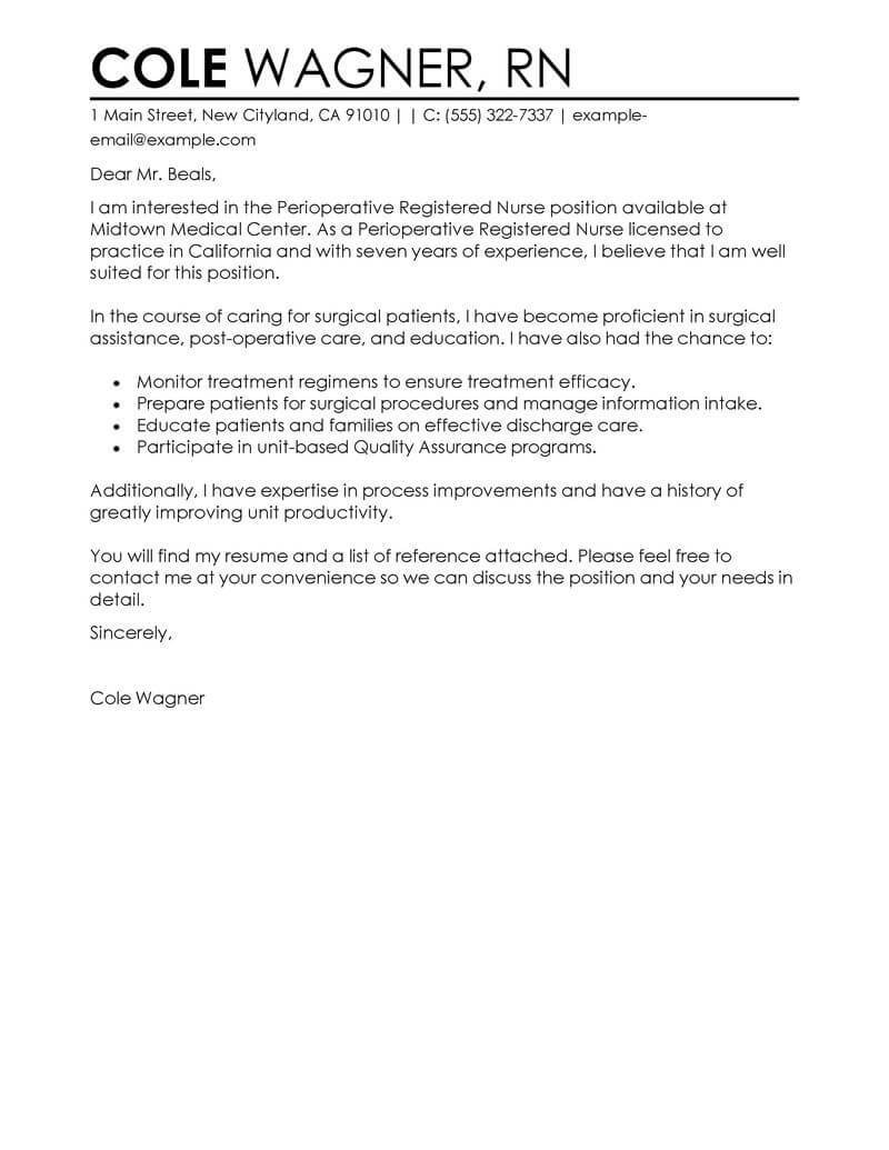 Amazing Perioperative Nurse Cover Letter Examples & Templates from ...