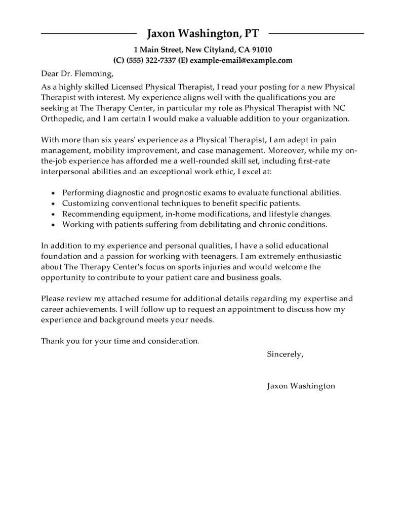 Amazing Physical Therapist Cover Letter Examples & Templates ...