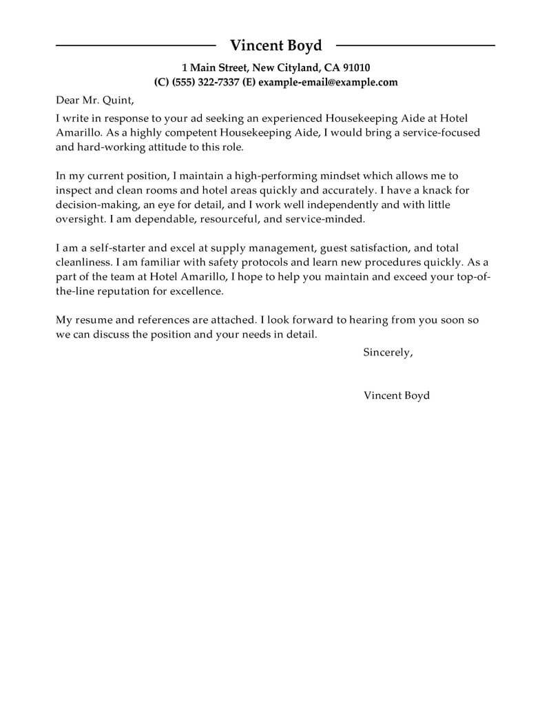 Free Hotel & Hospitality Cover Letter Examples & Templates from ...
