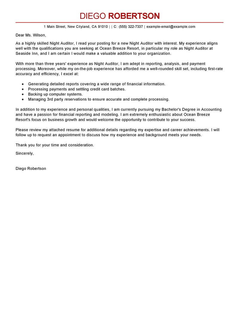 Free Night Auditor Cover Letter Examples & Templates from ...