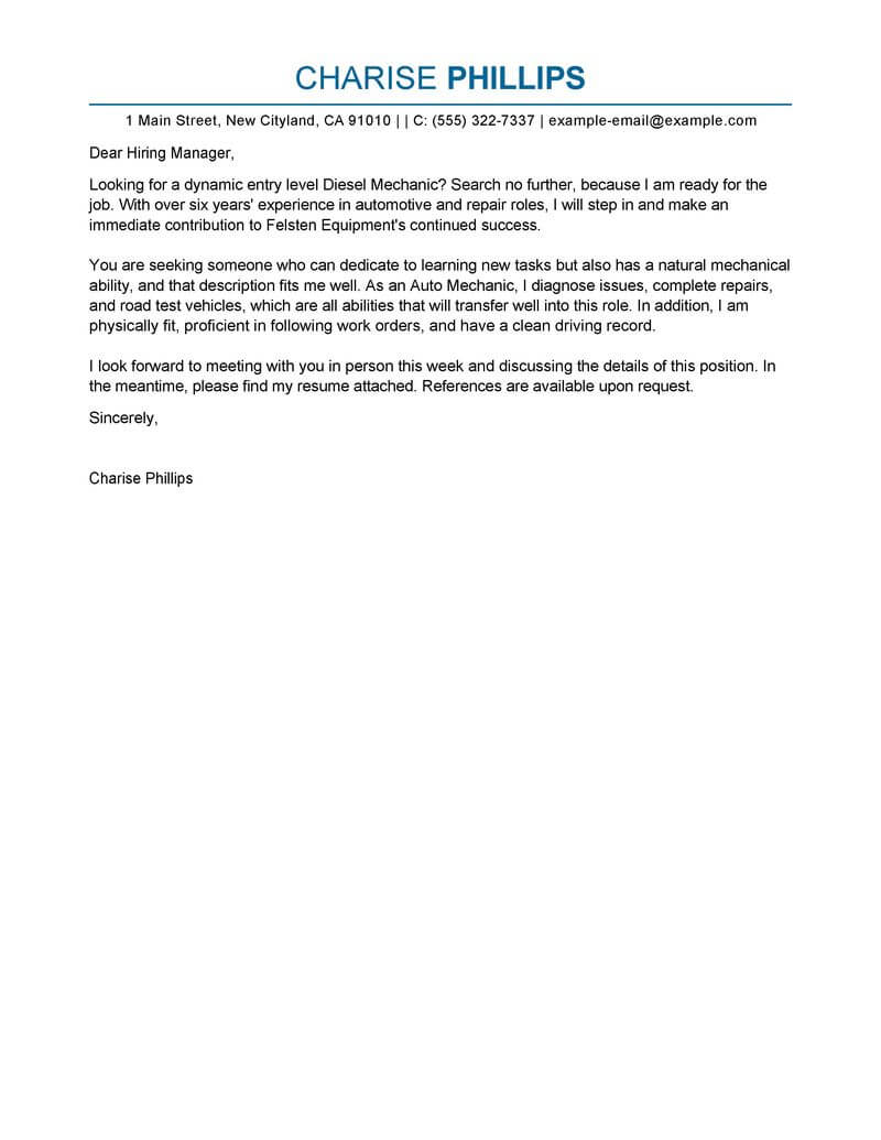 outstanding entry level mechanic cover letter examples templates