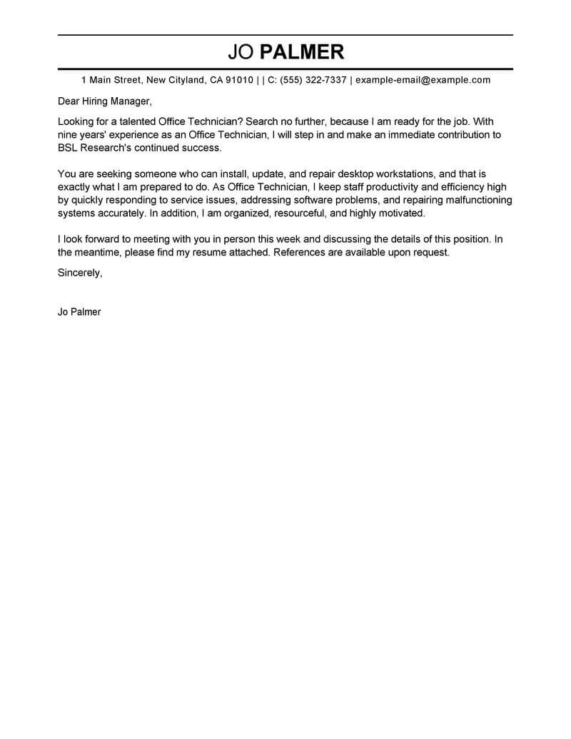 outstanding office technician cover letter examples