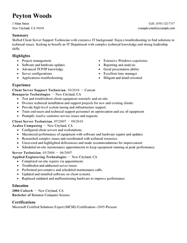 Free Client/Server Technician Cover Letter Examples ...