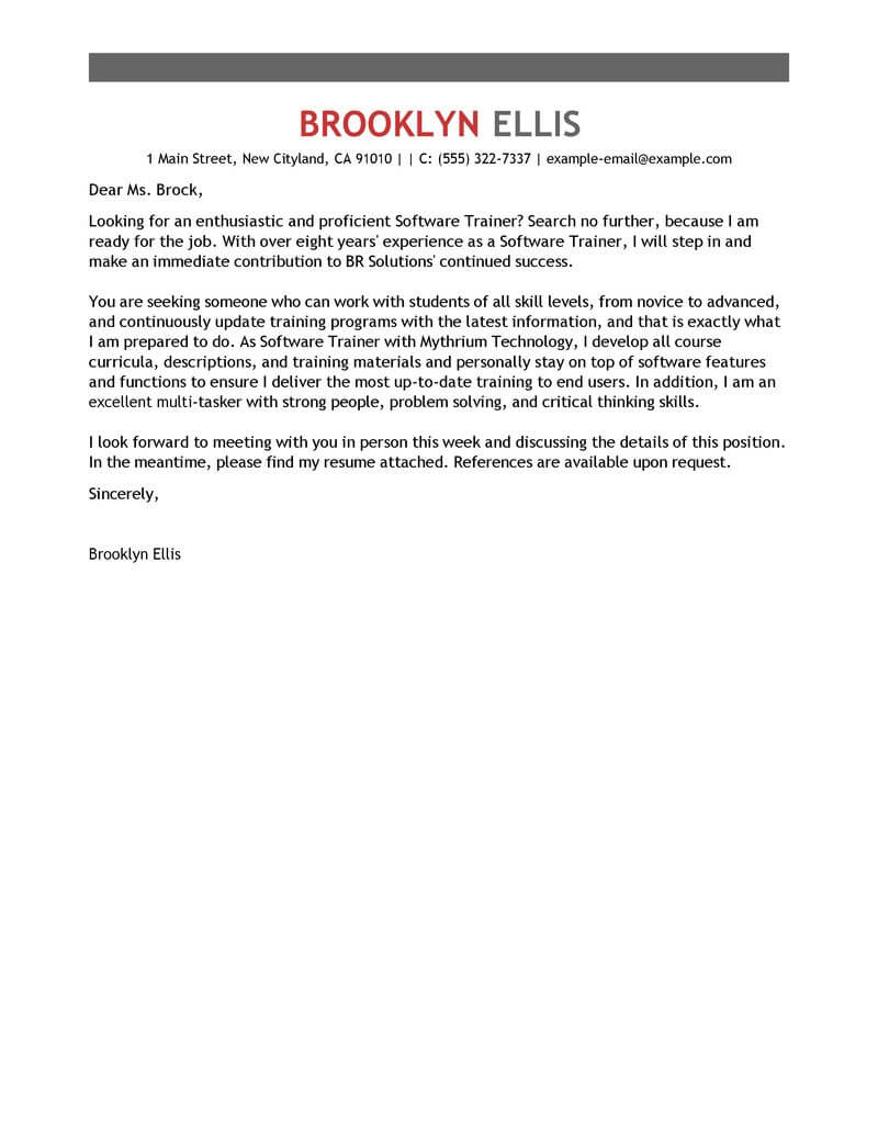 Software Training Cover Letter Examples