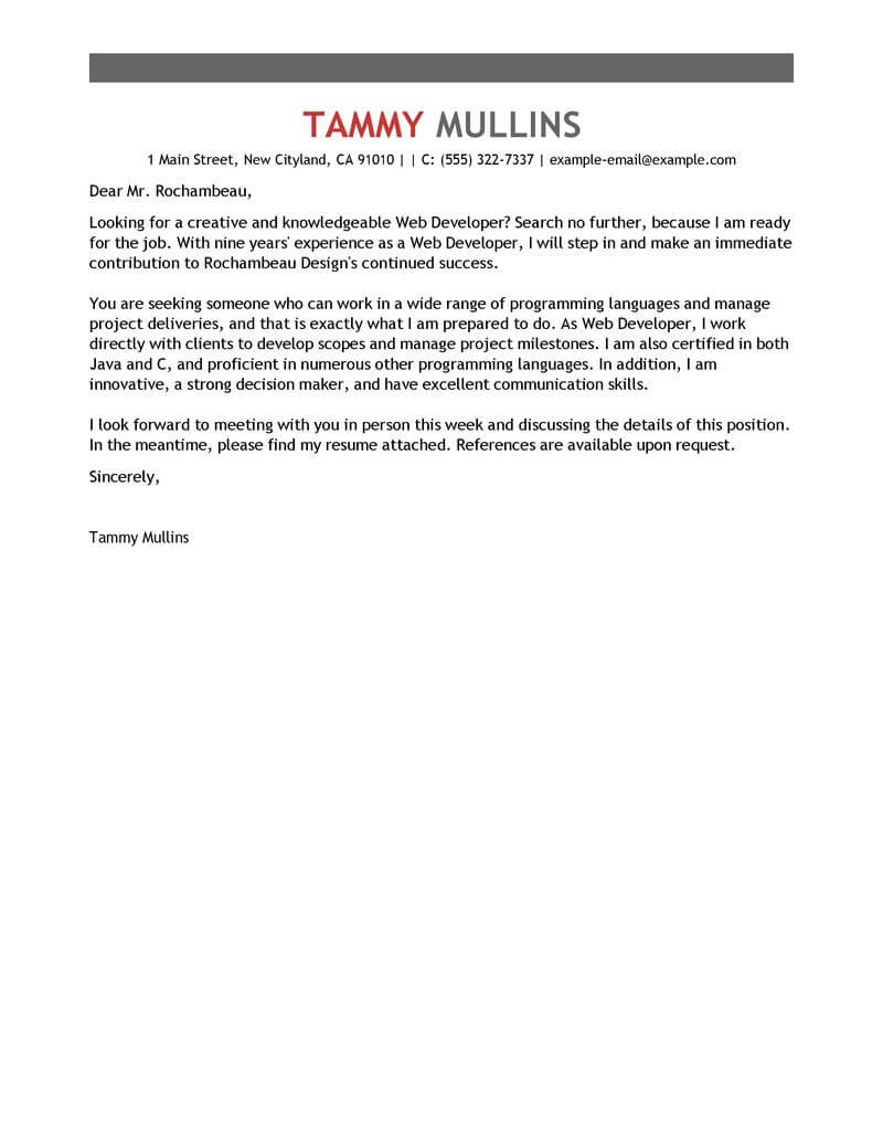 outstanding web developer cover letter examples