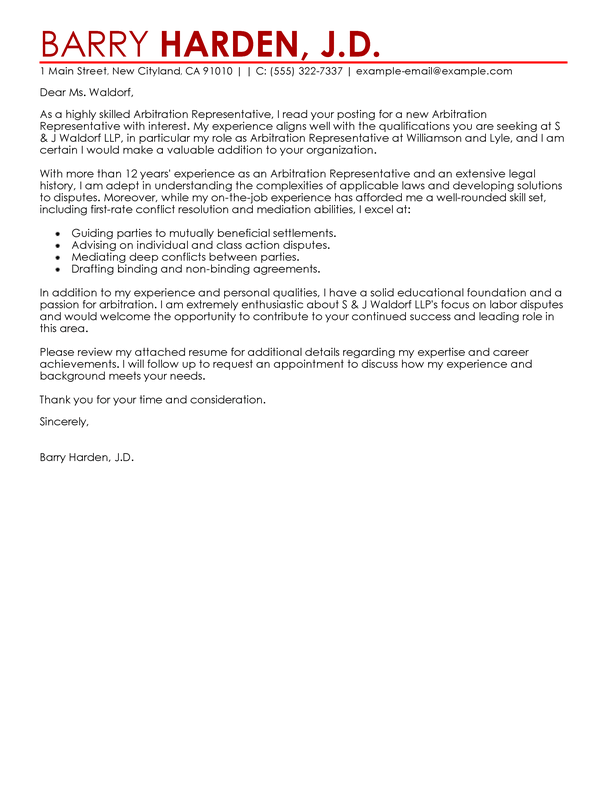Outstanding Law Cover Letter Examples Templates From Trust
