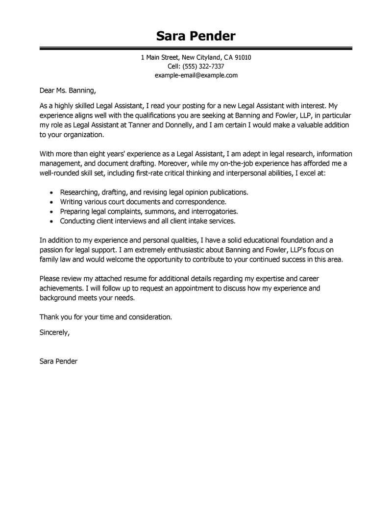 Amazing Legal Assistant Cover Letter Examples Templates From Trust