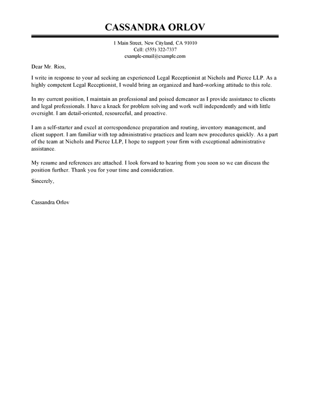 outstanding legal receptionist cover letter examples