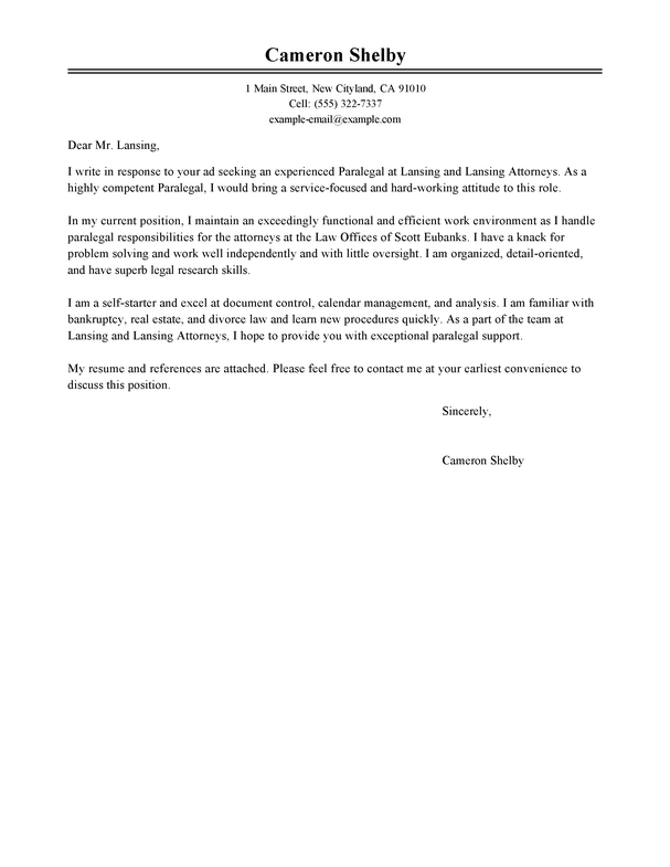 outstanding paralegal cover letter examples  u0026 templates