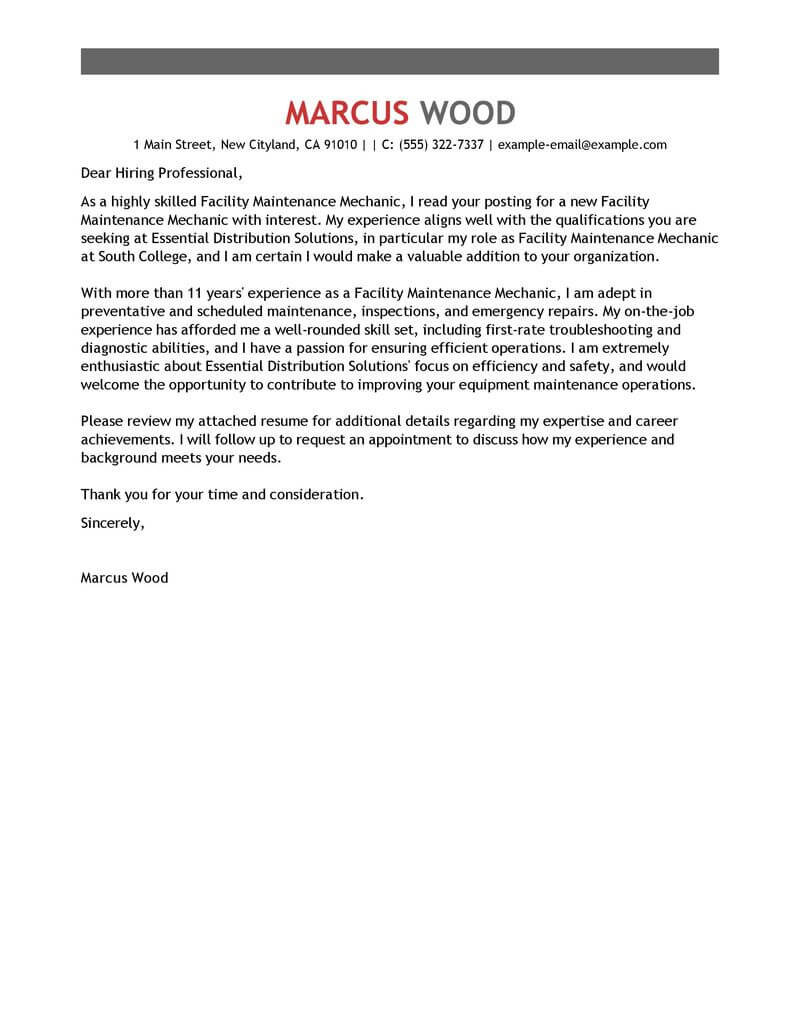 Free Maintenance Janitorial Cover Letter Examples Templates From Trust Writing Service