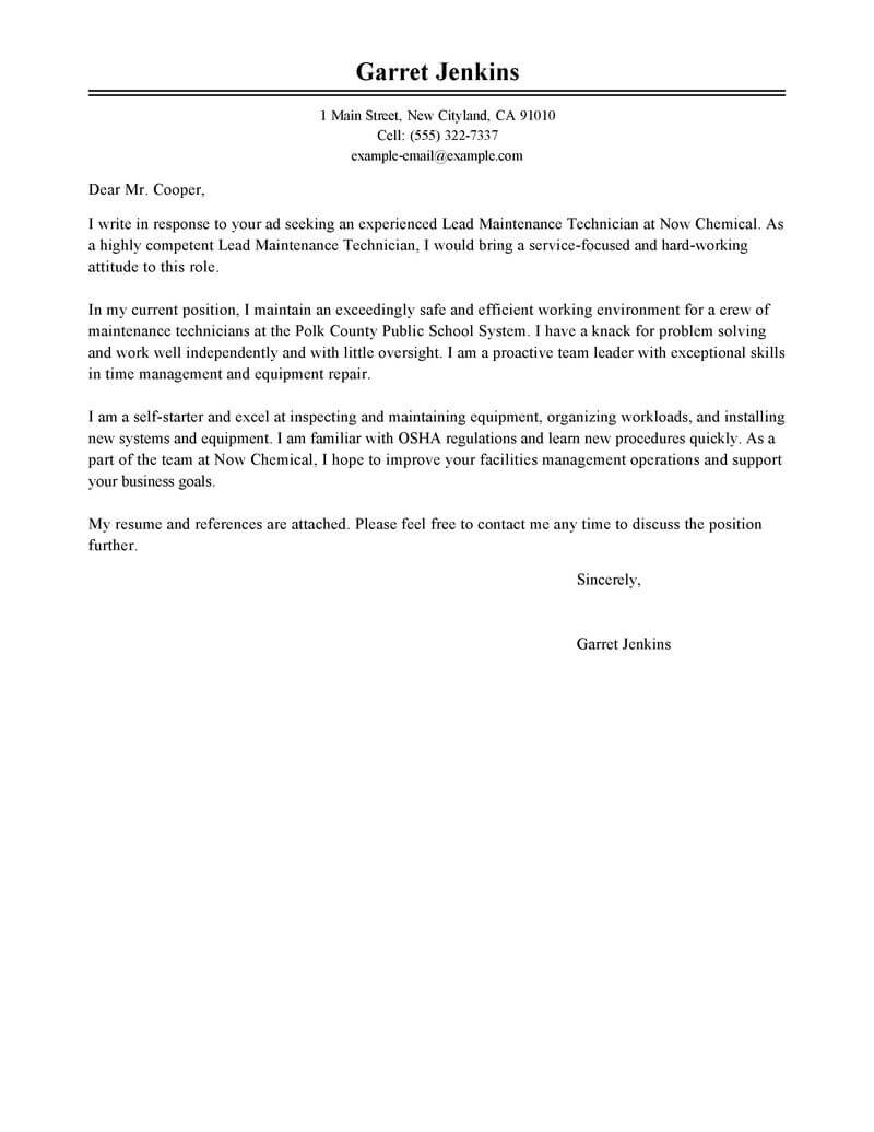 Free Facility Lead Maintenance Cover Letter Examples