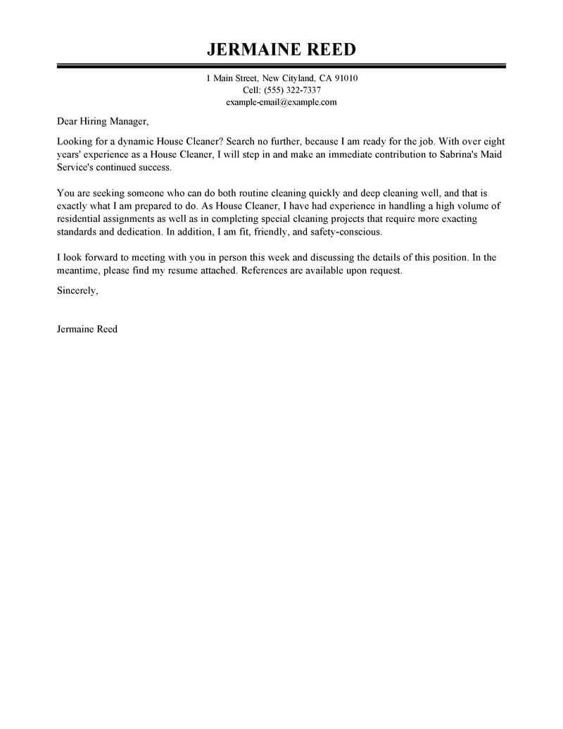 Amazing House Cleaners Team Members Cover Letter Examples
