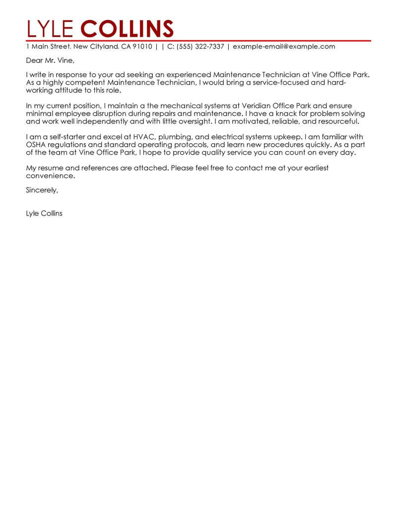 amazing maintenance technician cover letter examples