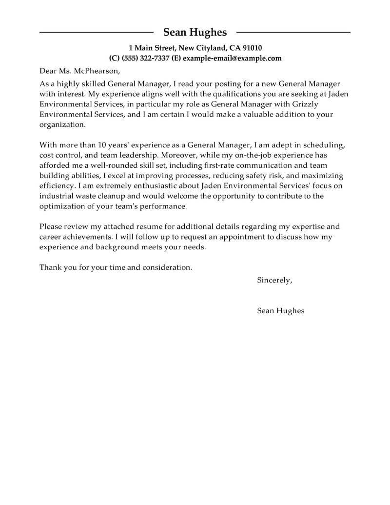 Amazing General Manager Cover Letter Examples Amp Templates