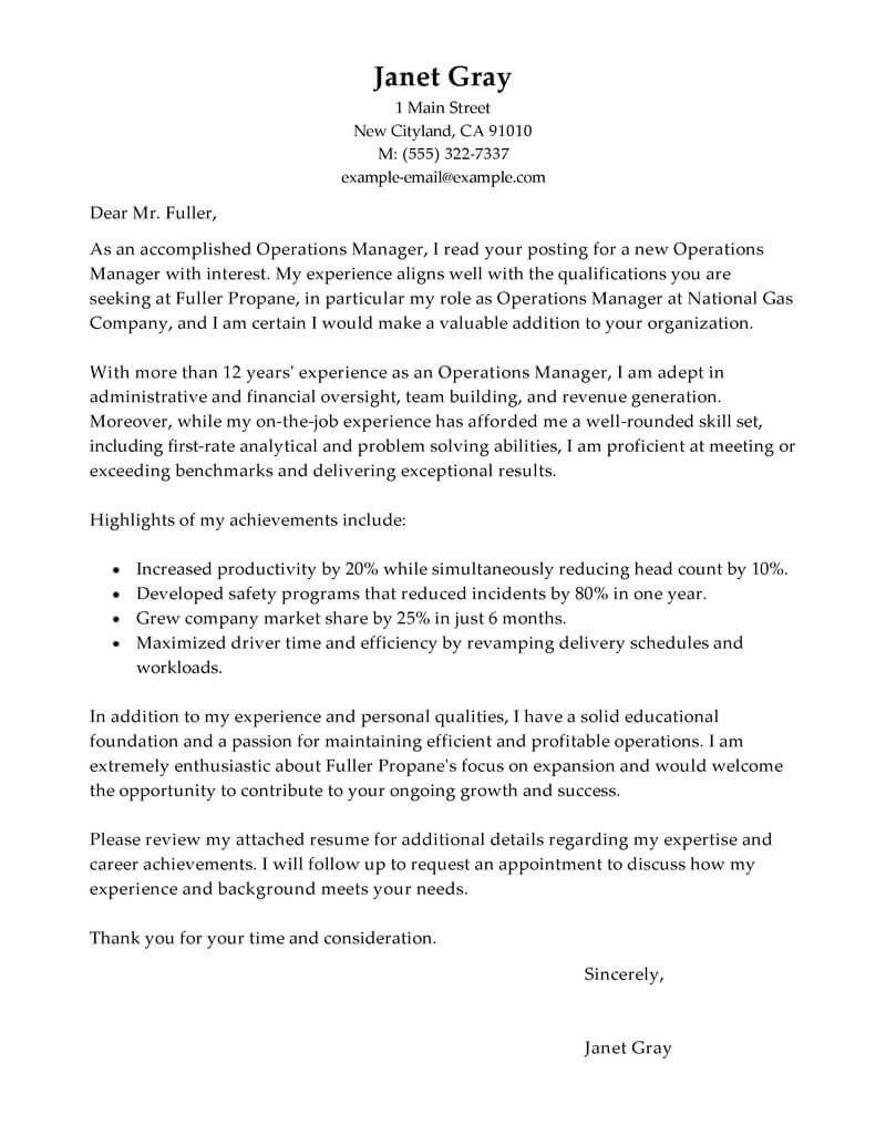 Outstanding Operations Manager Cover Letter Examples Templates - Cover-letter-for-manager-job