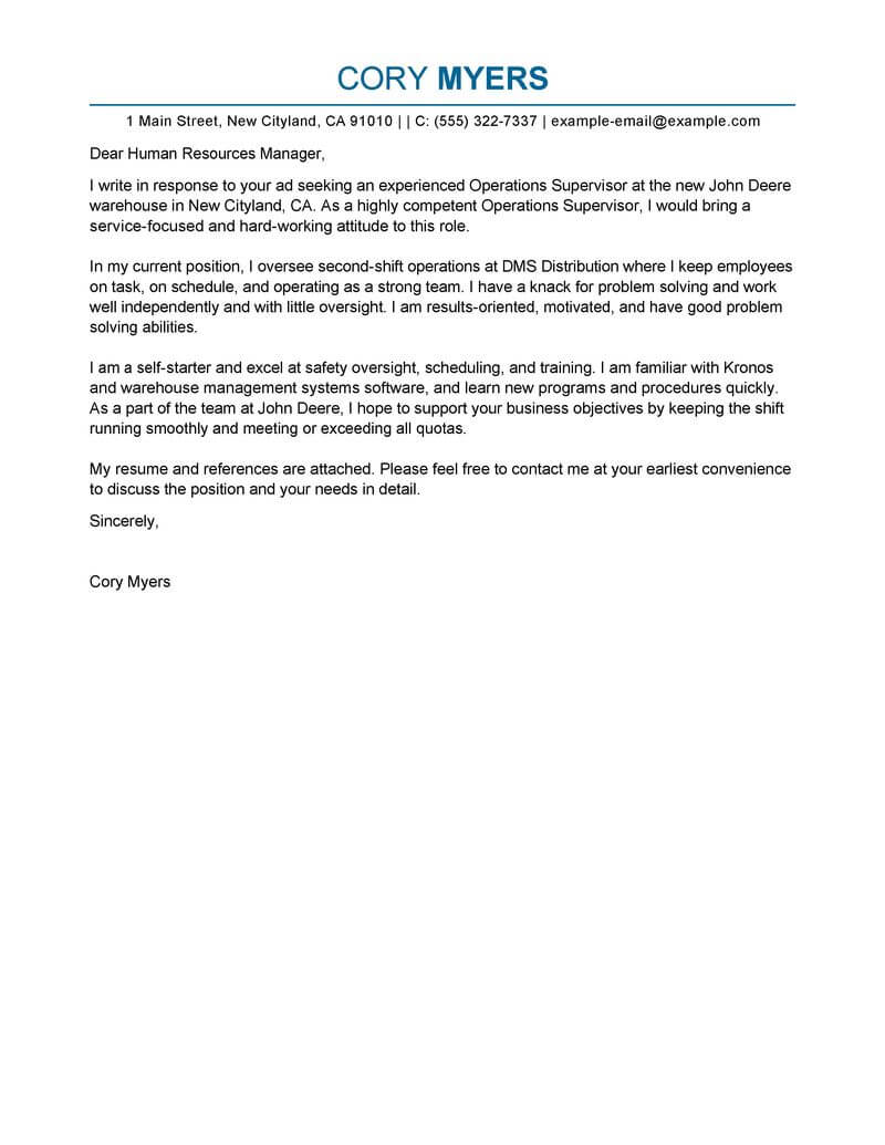 Amazing Shift Manager Cover Letter Examples Templates From Our