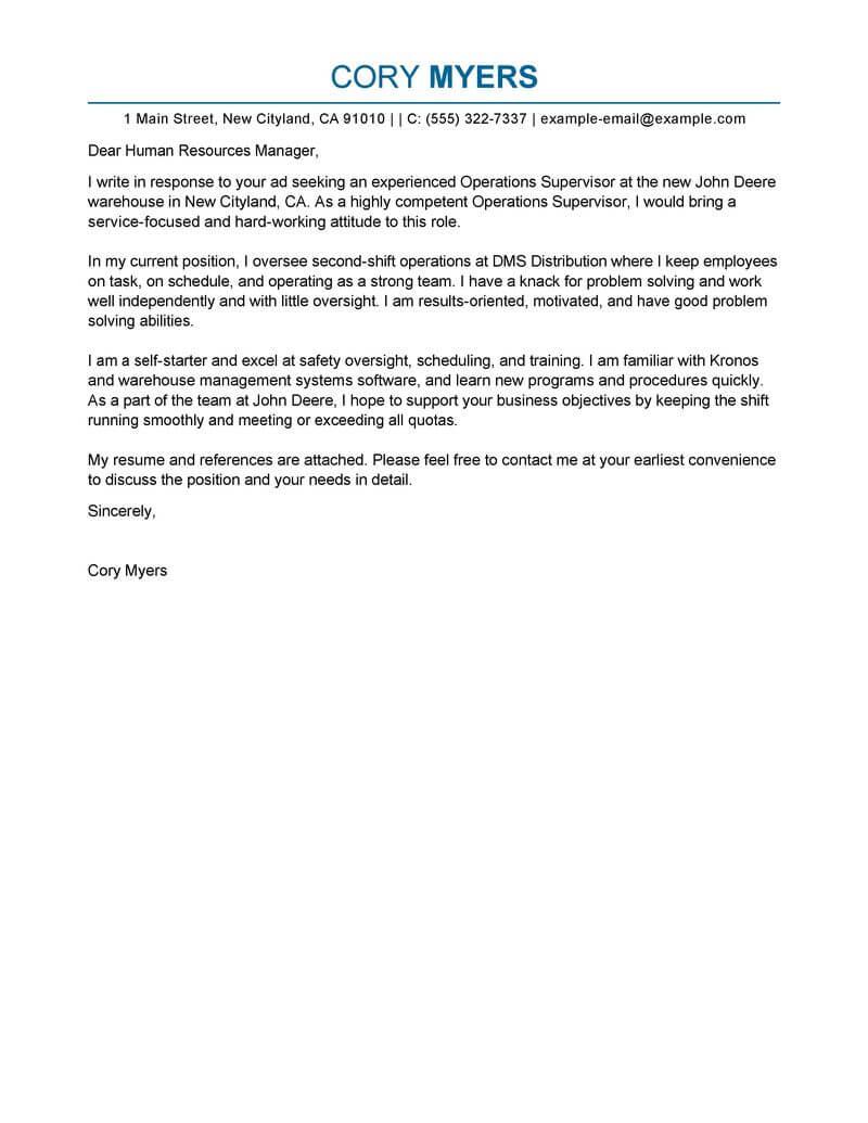 Distribution officer cover letter